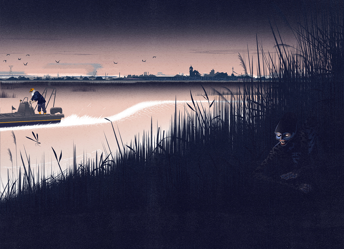 The monster of Po river. A mysterious amphibious creature wanders among the rushes of the mouth of the river...